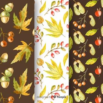 Collection de modèles d'automne d'aquarelle