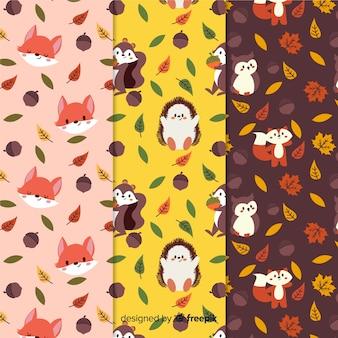 Collection de modèles automne dessinés à la main