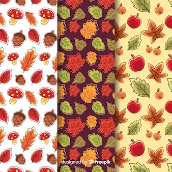 Collection de modèles d'automne dessinés à la main