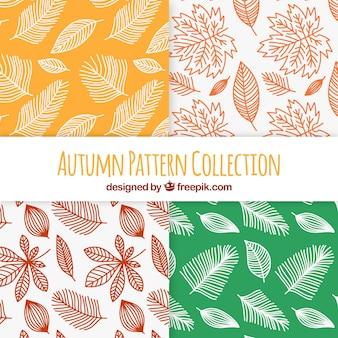 Collection de modèles automne avec des feuilles