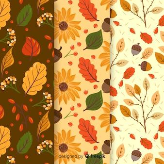 Collection de modèles automne plat avec des feuilles
