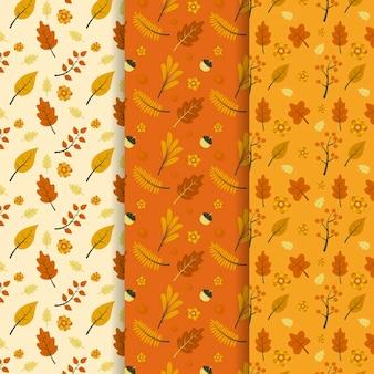 Collection de modèles d'automne plats dessinés à la main