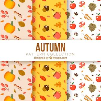 Collection de modèles automne avec vecteur libre des éléments mignons