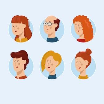 Collection de modèles d'avatar de personnage de personnes illustration vectorielle de personne plate