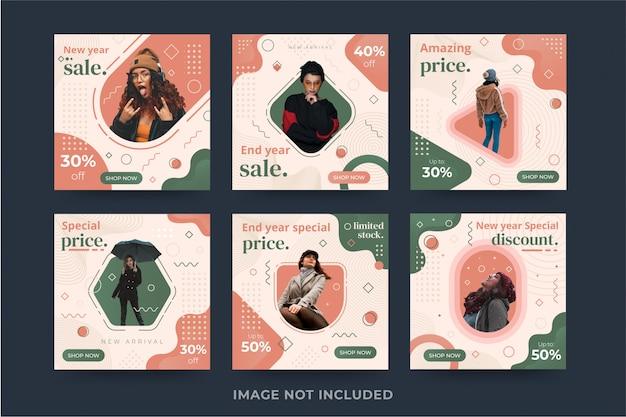 Collection de modèles de bannière de médias sociaux de vente de mode premium