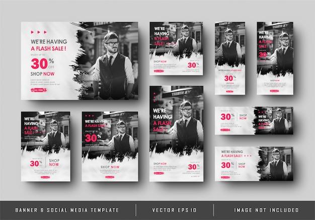 Collection de modèles de bannière numérique de médias sociaux polyvalents vente noir blanc