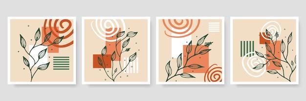 Collection de modèles de bannière organique abstraite. arrière-plan minimal dans un style bohème avec espace de copie pour le texte. illustration pour couverture, carte postale, papier peint, art mural