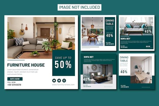 Collection de modèles de bannière de publication instagram de médias sociaux de meubles