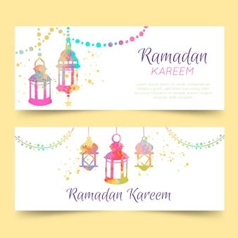 Collection de modèles de bannière de ramadan aquarelle