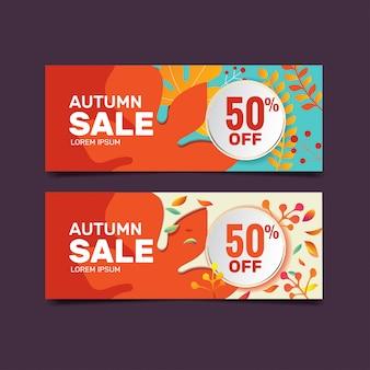 Collection de modèles de bannière de vente automne