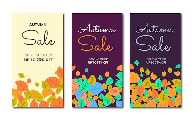 Collection de modèles de bannière de vente d'automne