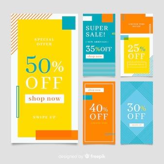 Collection de modèles de bannière de vente coloré abstrait