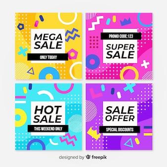 Collection de modèles de bannière de vente memphis
