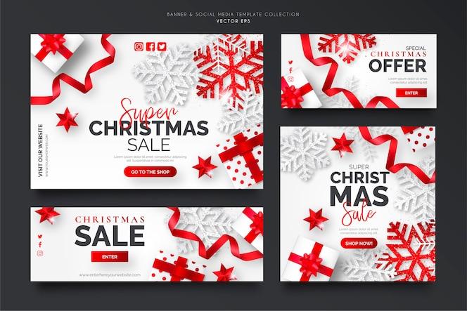 Collection de modèles de bannière de vente de noël blanc et rouge