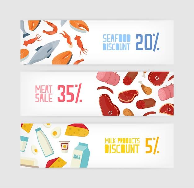 Collection de modèles de bannières horizontales avec rabais sur le poisson, les fruits de mer, la viande, le lait ou les produits laitiers sur fond blanc