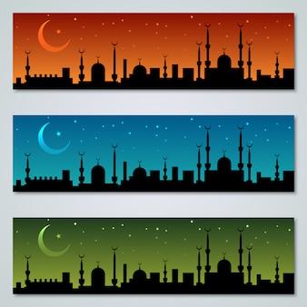 Collection de modèles de bannières islamiques colorées vector