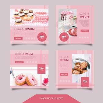 Collection de modèles de bannières publicitaires culinaires sur les médias sociaux culinaires