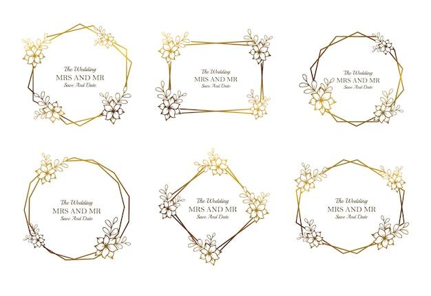 Collection de modèles de cadre de mariage floral doré