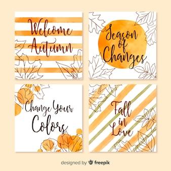 Collection de modèles de cartes aquarelle automne