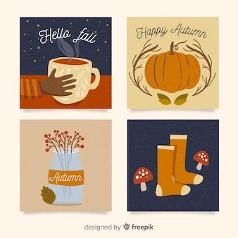 Collection de modèles de cartes automne plat