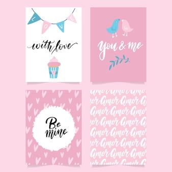 Collection de modèles de cartes et de dépliants pour la saint-valentin de couleur rose, noir et blanc avec lettrage à la main et illustrations.