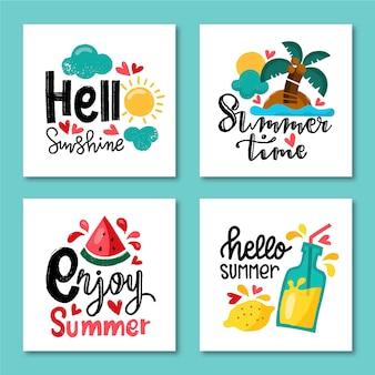Collection de modèles de cartes d'été dessinés à la main