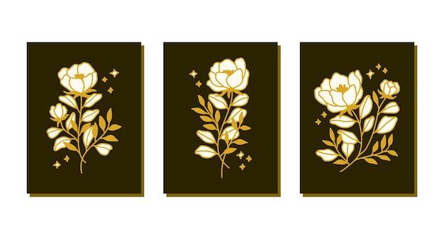 Collection de modèles de cartes de fleurs roses botaniques dessinés à la main