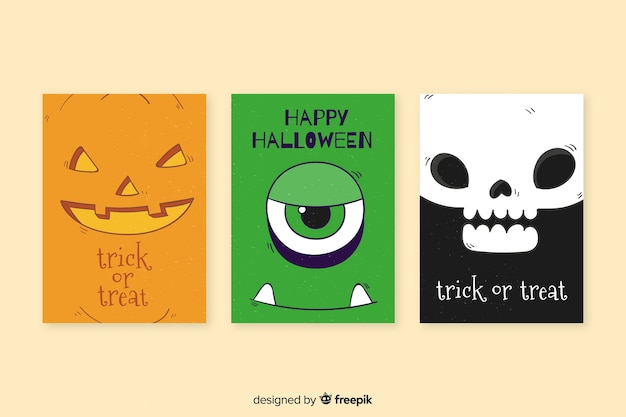 Collection de modèles de cartes halloween dessinés à la main