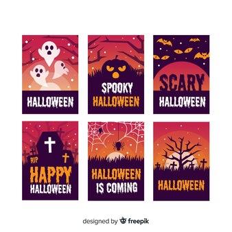 Collection de modèles de cartes halloween plat