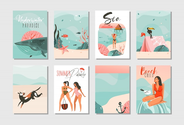 Collection de modèles de cartes d'illustrations d'heure d'été dessin animé abstrait dessinés à la main sertie de gens de la plage, sirène et baleine, coucher de soleil et oiseaux tropicaux sur fond blanc