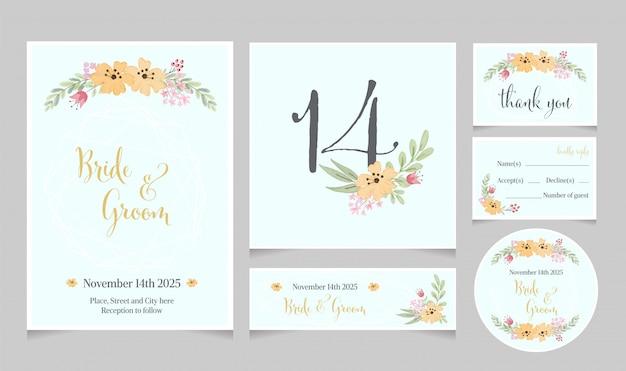 Collection de modèles de cartes d'invitation de mariage aquarelle cosmos jaune fleur