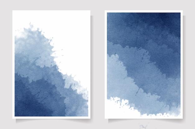 Collection de modèles de cartes d'invitation splash aquarelle lavage humide indigo