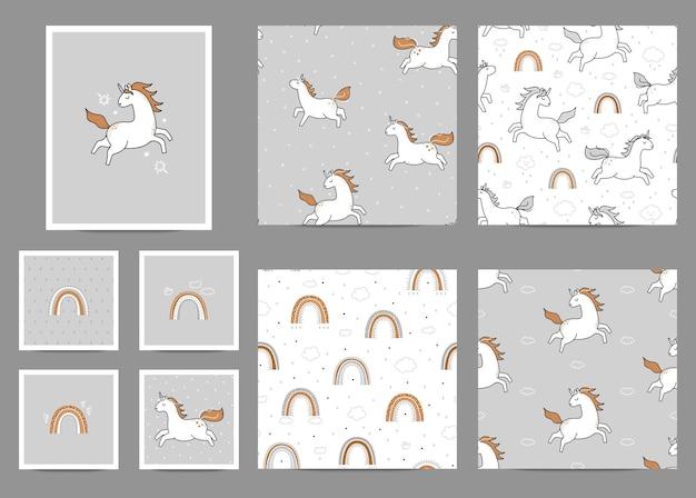 Collection de modèles et de cartes de licorne arc-en-ciel.