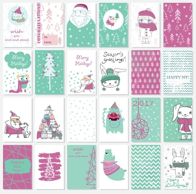 Collection de modèles de cartes de noël avec des chats, le père noël, l'ours, les chats et le texte de voeux dessiné à la main joyeux noël