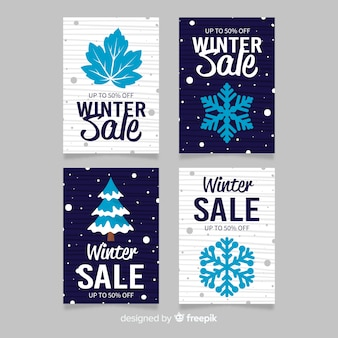 Collection de modèles de cartes de vente d'hiver elements