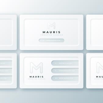 Collection de modèles de cartes de visite neumorph