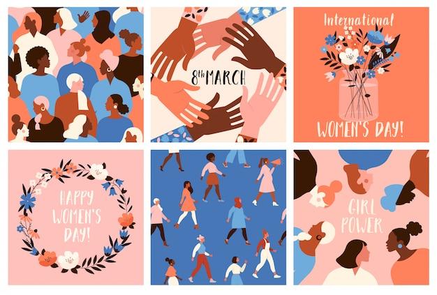 Collection de modèles de cartes de voeux avec des fleurs, des militantes du féminisme et happy womens day.