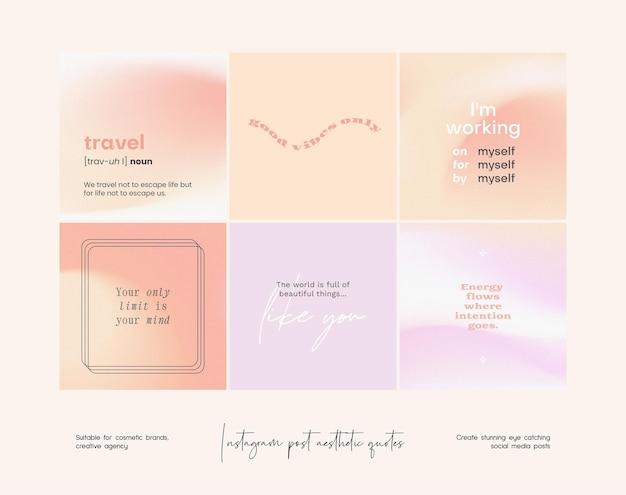 Collection de modèles de citations esthétiques dégradées post instagram