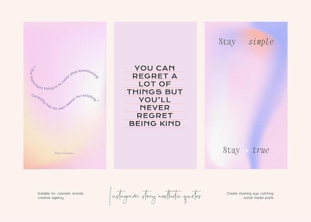 Collection de modèles de citations esthétiques d'histoire instagram