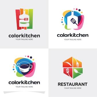 Collection de modèles de conception de logo de cuisine couleur