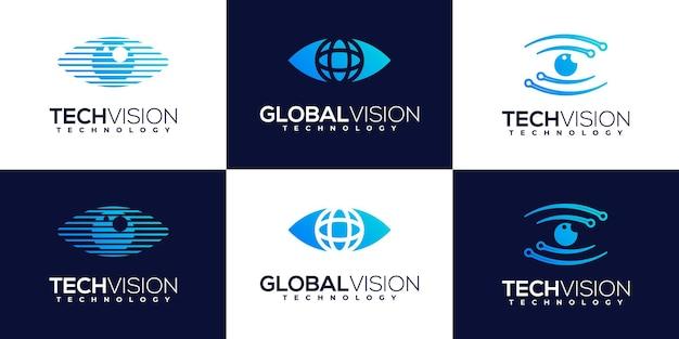 Collection de modèles de conception de logo de sécurité de bouclier de technologie créative