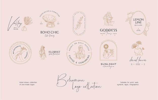 Collection de modèles de conception de logo vectoriel bohème dessinés à la main