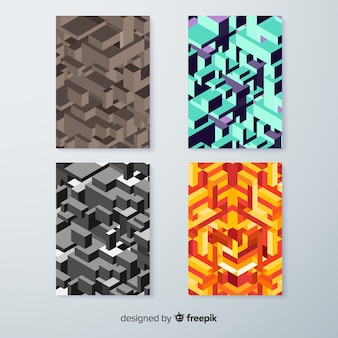 Collection de modèles de couverture de modèle isométrique