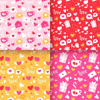 Collection de modèles de design plat valentines day