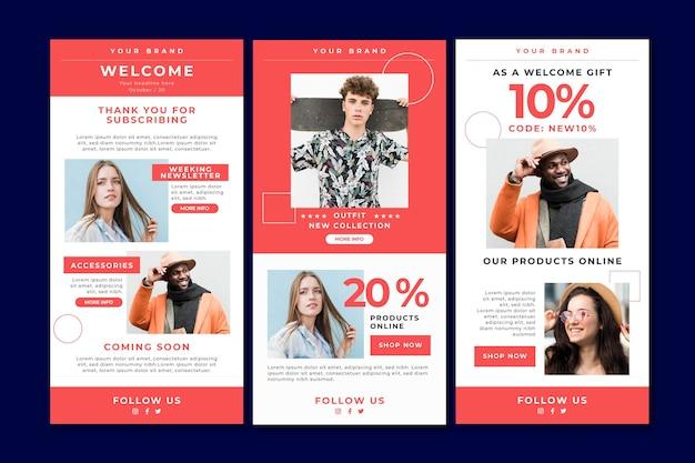 Collection de modèles d'e-mails de commerce électronique