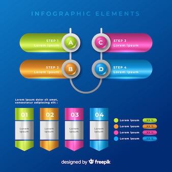 Collection de modèles d'éléments colorés infographiques