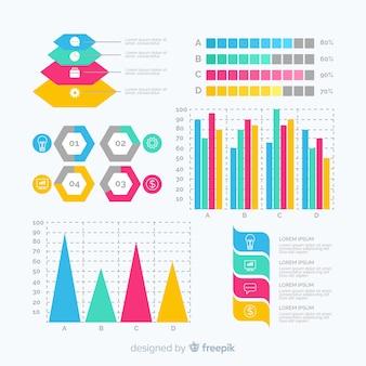 Collection de modèles d'éléments plat infographique