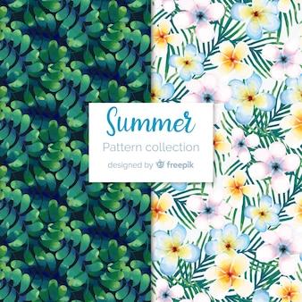 Collection de modèles d'été aquarelle