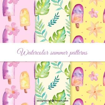 Collection de modèles d'été dans un style aquarelle