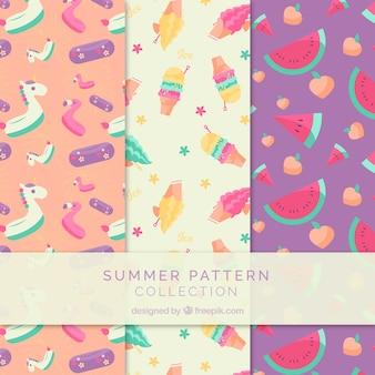 Collection de modèles d'été avec des éléments de plage
